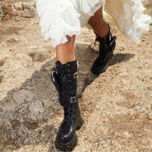 Black Combat Boots with Removable Pouches